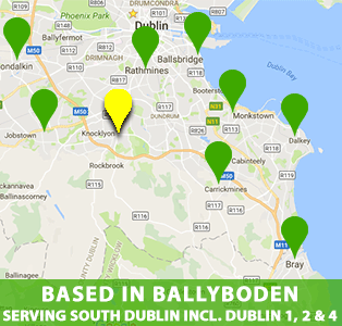 Based in Ballyboden, South Dublin, we provide our house cleaning and office cleaning service throughout South Dublin including Ballyboden, Knocklyon, Edmondstown, Ballinteer, Stillorgan, Leopardstown, Terenure, Dundrum, Milltown, Sandyford, Stepaside, Rathmines, Ranelagh, Tallaght, Clondalkin, Foxrock, Cabinteely, Loughlinstown, Blackrock, Deansgrange, Dun Laoghaire, Dalkey and Killiney.